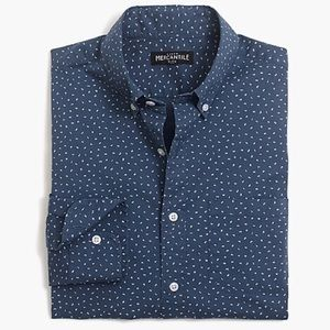 J.Crew Men Slim Flex Button Long Sleeve Print Blue